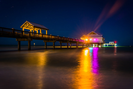 gulf of mexico: Fishing pier and the Gulf of Mexico at night, in Clearwater Beach, Florida.