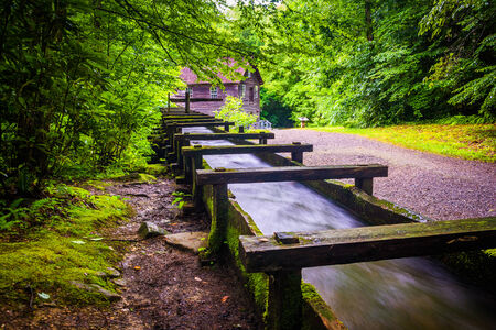 great smoky mountains: Flume and trail at Mingus Mill, Great Smoky Mountains National Park, North Carolina. Stock Photo