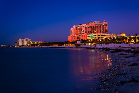 gulf of mexico: Hotels along the Gulf of Mexico at night in Clearwater Beach, Florida.