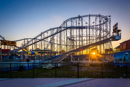 Sunset and rollercoaster in Daytona Beach, Florida.
