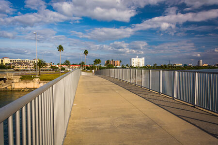 pedestrian bridge: Pedestrian bridge over the Intracoastal Waterway in Clearwater Beach, Florida. Stock Photo