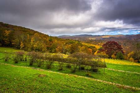 overlook: Autumn view from the Craft Center on the Blue Ridge Parkway, North Carolina. Stock Photo