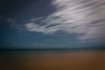 gulf of mexico: Long exposure of clouds and stars in the sky over the Gulf of Mexico in Key West, Florida. Stock Photo