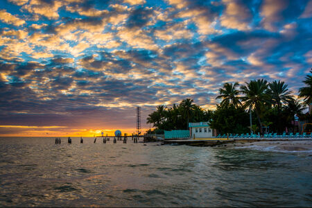 gulf of mexico: Sunset over the Gulf of Mexico from the Southernmost Point in Key West. Stock Photo