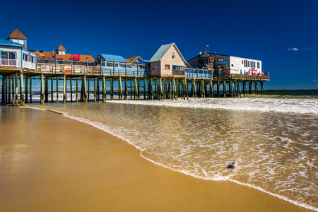 maine: The Atlantic Ocean and pier in Old Orchard Beach, Maine.