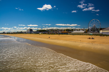rides: View of the beach and rides from the pier at Old Orchard Beach, Maine. Editorial