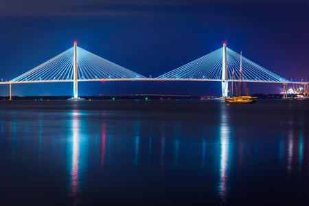 modern bridge: The Arthur Ravenel Junior Bridge at night in Charleston, South Carolina.