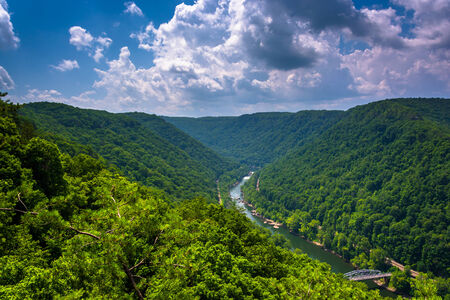 west river: The New River Gorge  seen from the Canyon Rim Visitor Center Overlook, West Virginia.