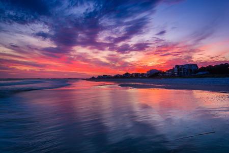 Waves In The Atlantic Ocean At Sunset Folly Beach South Carolina