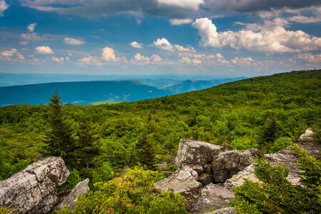 appalachian mountains: Boulders and eastern view of the Appalachian Mountains from Bear Rocks Preserve, Monongahela National Forest, West Virginia. Stock Photo