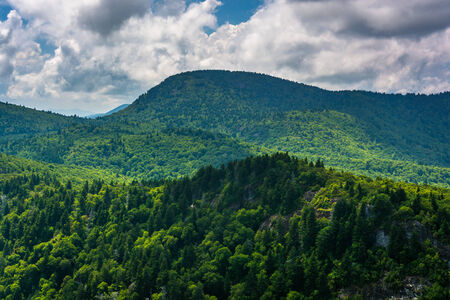north ridge: View of distant mountains from Devils Courthouse, near the Blue Ridge Parkway in North Carolina.