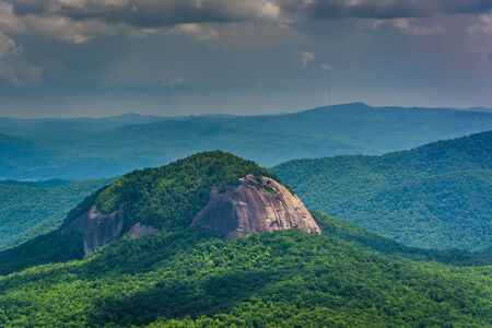 View of Looking Glass Rock from the Blue Ridge Parkway in North Carolina.