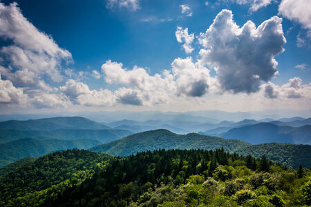 overlook: View of the Blue Ridge Mountains seen from Cowee Mountains Overlook on the Blue Ridge Parkway in North Carolina. Stock Photo