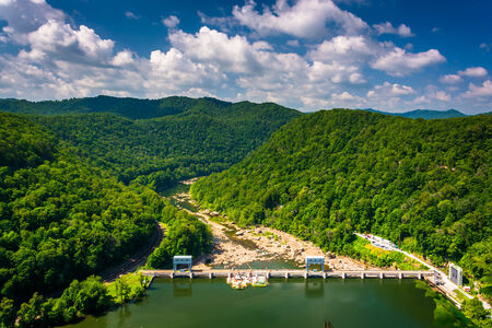 west virginia trees: View of the New River from Hawks Nest State Park, West Virginia.