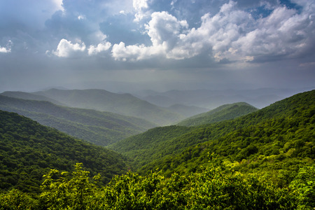 north ridge: Hazy summer view of the Appalachian Mountains from the Blue Ridge Parkway in North Carolina.