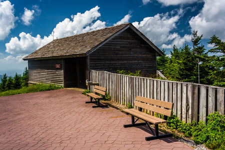enviromental: The Enviromental Education Center and benches at Mount Mitchell State Park, North Carolina.