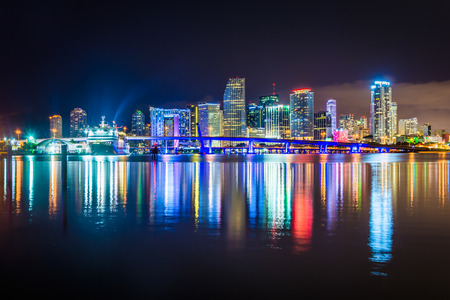 city park skyline: The Miami Skyline at night, seen from Watson Island, Miami, Florida. Stock Photo