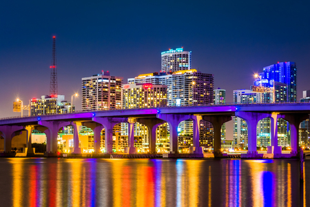 The Miami Skyline at night, seen from Watson Island, Miami, Florida. Reklamní fotografie