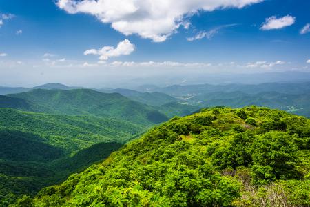 Ansicht der Appalachen aus Craggy Pinnacle, auf dem Blue Ridge Parkway, North Carolina.