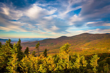 notch: Autumn evening view  from Bald Mountain, at Franconia Notch State Park, New Hampshire.