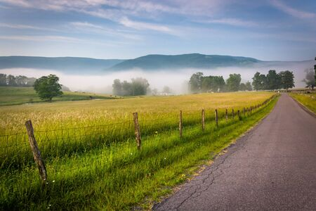 allegheny: Farm fields along a country road on a foggy morning in the Potomac Highlands of West Virginia. Stock Photo