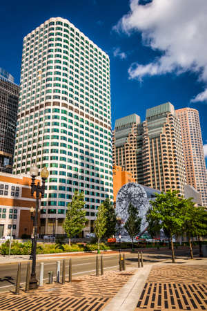 massachusetts: Cluster of skyscrapers in Boston, Massachusetts. Stock Photo
