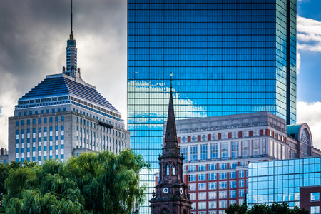 john hancock: Diverse buildings in Boston, Massachusetts. Stock Photo