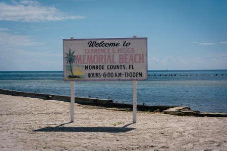 key of paradise: Sign at Higgs Beach, Key West, Florida.