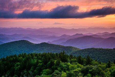 Sunset from Cowee Mountains Overlook, on the Blue Ridge Parkway in North Carolina. photo