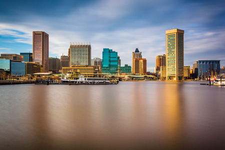 Long exposure of the skyline at the Inner Harbor in Baltimore, Maryland.