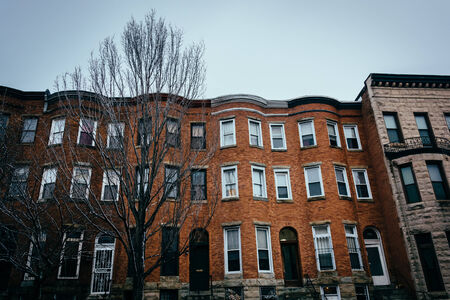 row of houses: Row houses in Charles North, Baltimore, Maryland. Stock Photo