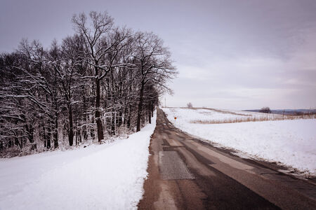 covered fields: Snow covered fields along a country road, in rural York County, Pennsylvania. Stock Photo