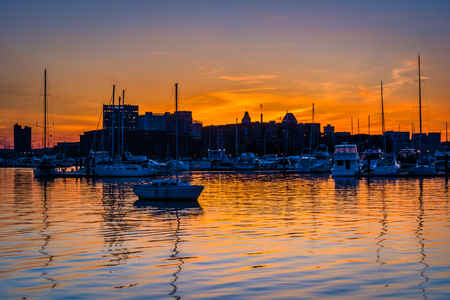 maryland: Sunset over a marina in Baltimore, Maryland.
