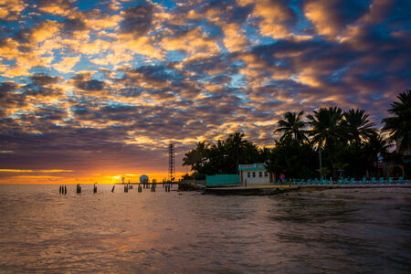gulf of mexico: Sunset over the Gulf of Mexico from the Southernmost Point in Key West, Florida.