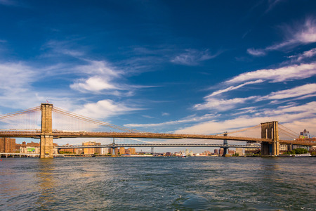 The Brooklyn Bridge, over the East River, seen from Pier 15, Manhattan, New York. Stock Photo - 35000331