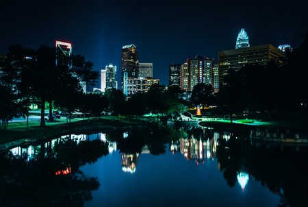 The Charlotte skyline seen at Marshall Park, in Charlotte, North Carolina. photo
