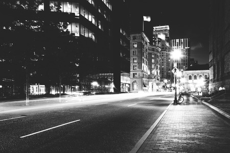 hancock building: The John Hancock Building and traffic on Saint James Street at night in Boston, Massachusetts.