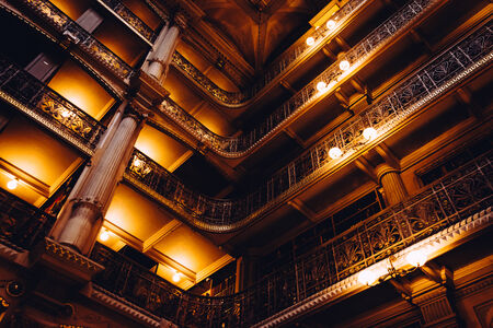 OLD LIBRARY: Upper levels of the Peabody Library in Mount Vernon, Baltimore, Maryland.