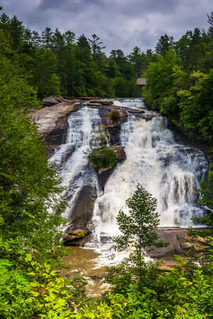 View of High Falls in Dupont State Forest, North Carolina. Stock Photo
