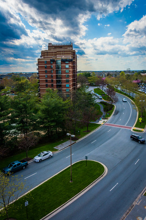 gaithersburg: View of Washingtonian Boulevard and buildings in Gaithersburg, Maryland. Stock Photo