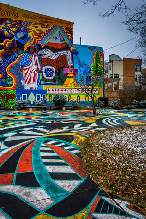 murals: Colorful murals in North Charles, Baltimore, Maryland. Editorial