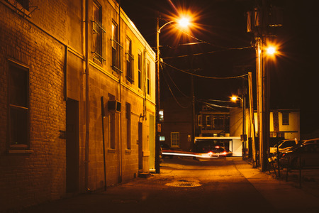 Alley at night, in Hanover, Pennsylvania.