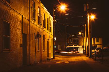 dark alley: Alley at night, in Hanover, Pennsylvania.