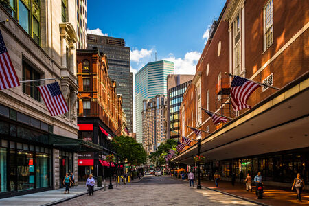 The Downtown Crossing shopping district in Boston, Massachusetts.
