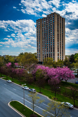 View of Washingtonian Boulevard and buildings in Gaithersburg, Maryland. Stock Photo