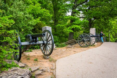Cannons on Little Round Top, in Gettysburg, Pennsylvania.