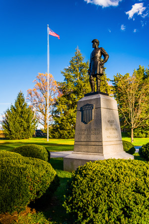 Statue and American flag at Gettysburg, Pennsylvania.
