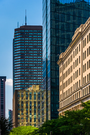 hancock building: The John Hancock Building and other buildings in Boston, Massachusetts.