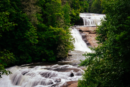 View of Triple Falls, in Dupont State Forest, North Carolina. Stock Photo