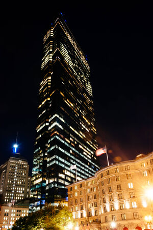 john hancock: The John Hancock Building at night, in Boston, Massachusetts. Editorial